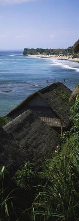 High angle view of huts on the coast