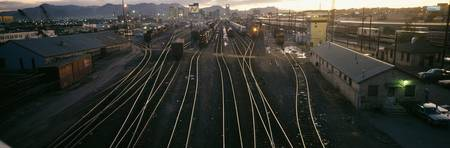 High angle view of a shunting yard