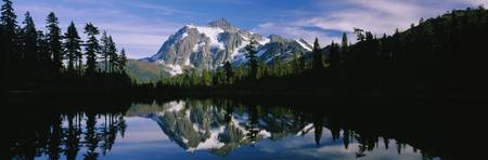 Reflection of a mountain range in a lake