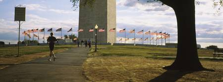 American flags around a monument