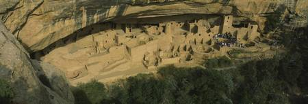 High angle view of cliff dwellings