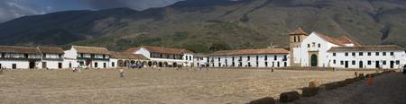 Town square in front of mountains Villa De Leyva
