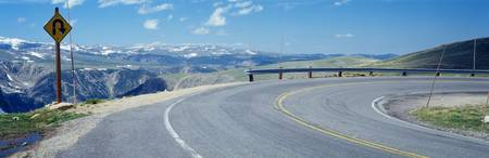 Curve in Road in Beartooth Mountains MT