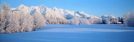 Snow covered Chugach Mountains AK
