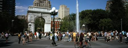 Tourists at a park Washington Square Arch Washing