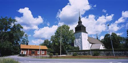 Church along a road