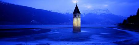 Evening Lago di Resia Church Tyrol Italy