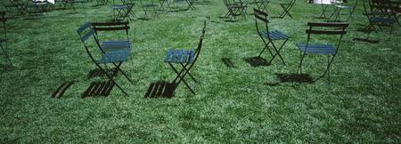 Cafe chairs in lawn