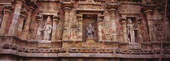 Low angle view of sculptures carved on a temple