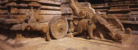Sculptures of animals carved in a temple