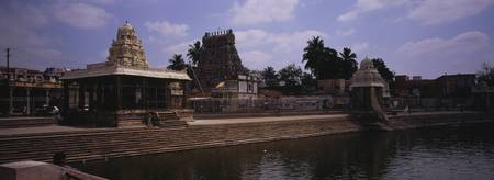 Reflection of temples in water