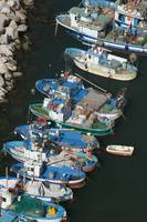 High angle view of fishing boats moored at a harb