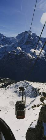 High angle view of an overhead cable car