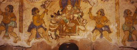 Close-up of a fresco on a wall