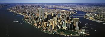 Manhattan from air with World Trade Center towers