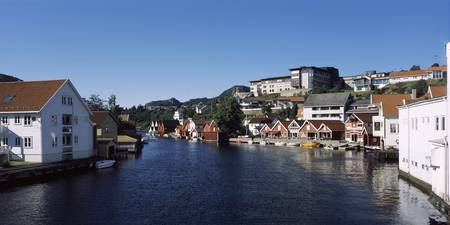 Buildings at the riverbank Flekkefjord Vest Agder