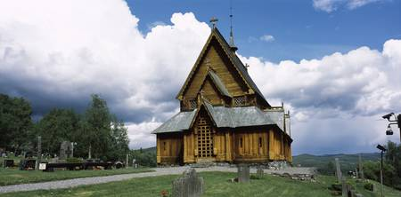 Facade of a wooden church Reinli Stave Church Rei