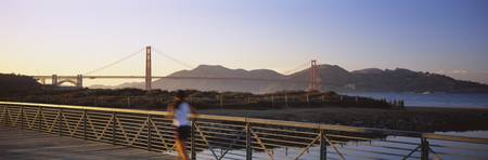 Rear View Of A Woman Jogging On A Bridge