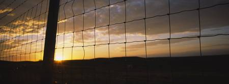 Sunset viewed through a fence