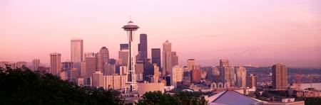 Mount Rainier and Space Needle Seattle WA