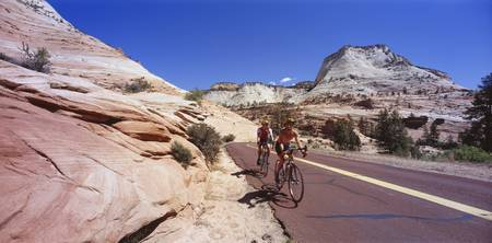 Two people cycling on the road Zion National Park