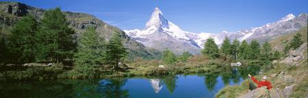 Hiker Matterhorn Mountain Switzerland