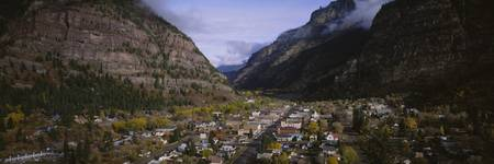 High angle view of a town in a valley