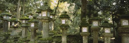 Low angle view of stone lanterns