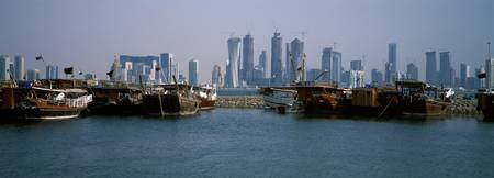 Harbor with skylines in the background Dhow Harbo