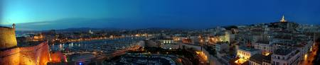 High angle view of a port at dusk Marseille Bouch