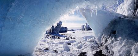 Ice cave on a polar landscape