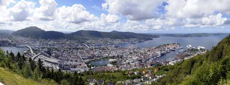 High angle view of a city Bergen Hordaland County