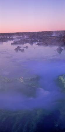 Hot springs in a lake