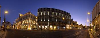 Buildings lit up at a town square Rossio Square L
