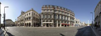 Buildings at a town square Rossio Square Lisbon P