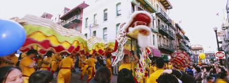 People performing traditional Dragon Dance on Chi