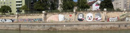 Graffiti on a wall at the riverside Wien River Vi