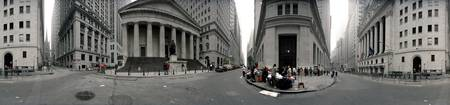 360 degree view of buildings Wall Street Manhatta