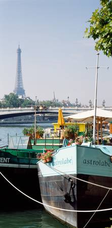 Houseboats on the Seine Tour Eiffel Paris France