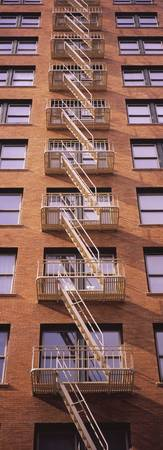 Fire escape ladders of a building