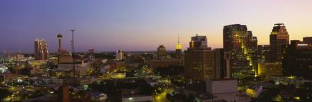 Buildings lit up at dusk San Antonio Texas