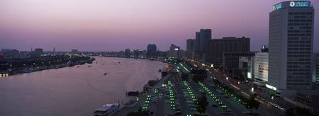 City at dusk Dubai Creek Dubai United Arab Emirat