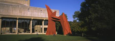 Sculpture in front of a university building