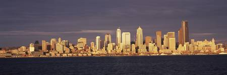 City viewed from Alki Beach Seattle King County W