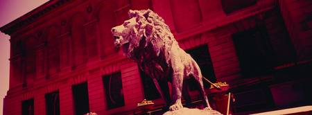 Lion statue in front of an art museum