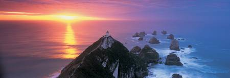 Sunset Nugget Point Lighthouse New Zealand