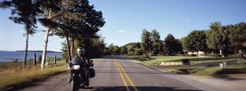 Person riding a motorcycle Old Mission Peninsula