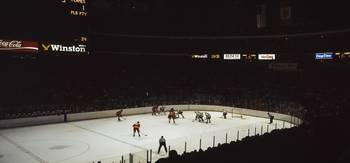 Group of people playing ice hockey Chicago Illino