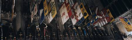 Low angle view of banners hanging in a cathedral