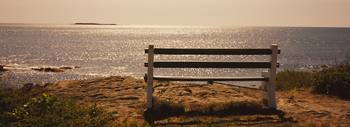 Empty bench on the beach